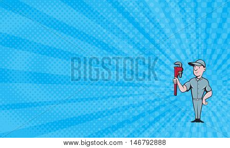 Business Card showing Illustration of a repairman handyman worker wearing hat standing with one hand on hips carrying holding monkey wrench looking to the side viewed from front set on isolated white background done in cartoon style.