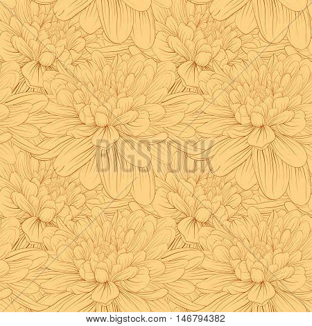 Beautiful seamless background with flowers. Hand-drawn contour lines and strokes. Perfect background greeting cards and invitations to the day wedding birthday mother's day
