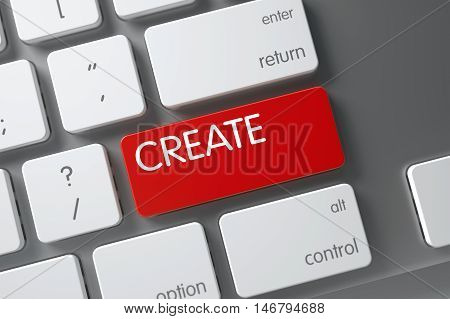 Create Concept Metallic Keyboard with Create on Red Enter Keypad Background, Selected Focus. 3D Render.