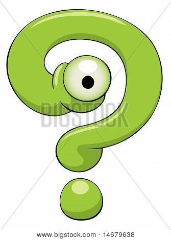 Funny Green Question-mark With One Eye Is Looking At You.