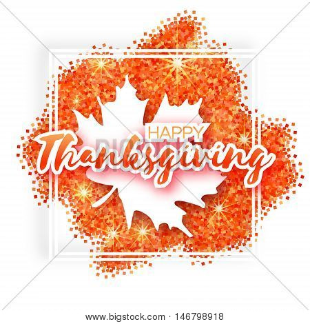 Happy Thanksgiving Day greeting card with origami autumn white maple leaves on red glitter background with title and square frame. Paper cut Trendy Design Template.