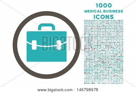 Case rounded vector bicolor icon with 1000 medical business icons. Set style is flat pictograms, grey and cyan colors, white background.
