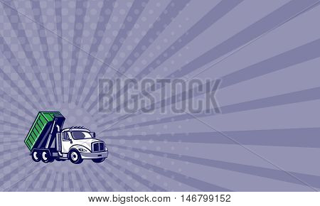 Business card showing illustration of a roll-off truck with container bin on back viewed from side set on isolated white background done in cartoon style.