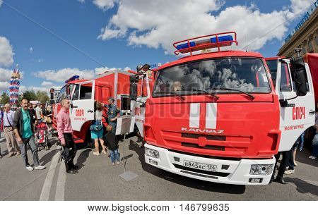 VOLGOGRAD - SEPTEMBER 10: A fire truck on KAMAZ chassis at the exhibition of fire equipment under the open sky. September 10 2016 in Volgograd Russia.