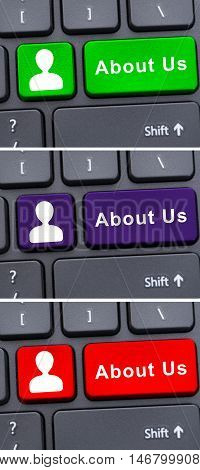 Company Information Concept With About Us Button