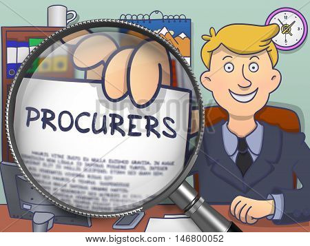 Businessman Welcomes in Office and Holds Out a Paper with Inscription Procurers. Closeup View through Lens. Colored Doodle Style Illustration.