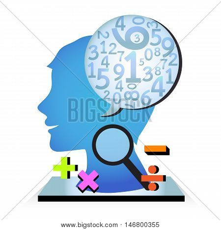 Human thinking and calculation on white background.