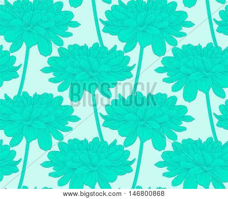 Beautiful seamless background with dahlia. Hand-drawn contour lines and strokes.