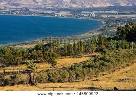 Natural landscape of northern israel with the view to Kinneret lake.