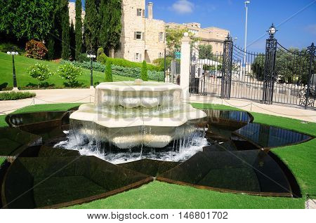 One of the fountains of Bahai gardens in Haifa. Northern Israel.
