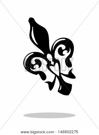 Fleur de lis with drop shadow. Isolated on white background. French lily icon