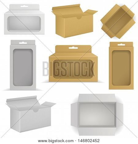 Package Cardboard Box with transparent window. Open Carton box. Top view. Vector Illustration isolated on white background.