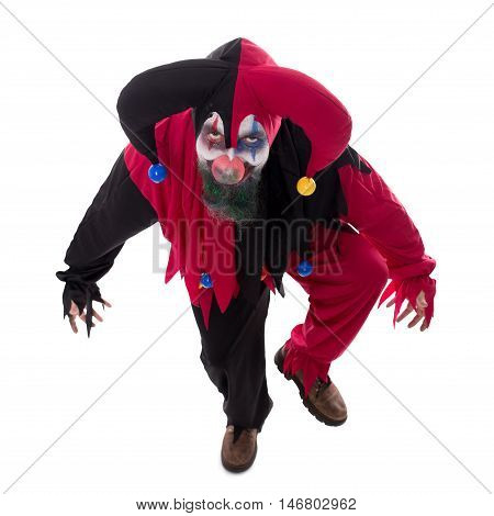 Portrait Of An Evil Clown, Isolated On White, Concept Halloween And Horror