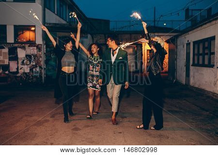 Group Of Friends Enjoying With Sparklers In Evening