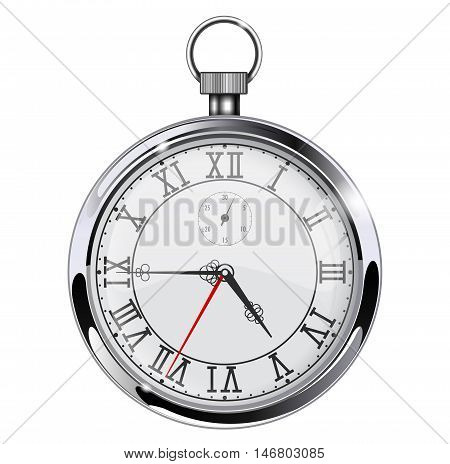 Roman numeral clock. Pocket watch. Realistic vector illustration isolated on white background