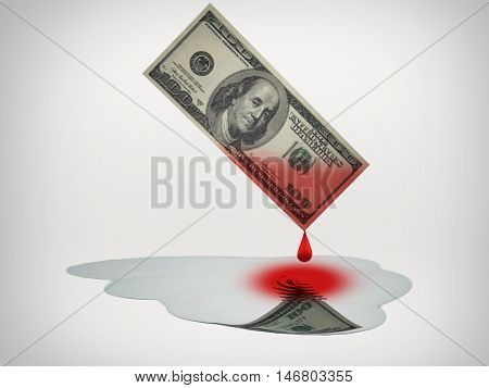 Blood money drips into puddle of fresh water  3D Render