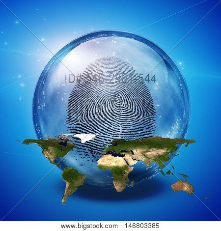 Earth fingerprint Id  3D Render   Some elements provided courtesy of NASA