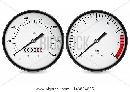 Speedometer tachometer. Realistic vector illustration isolated on white background