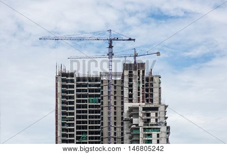 Building Cranes And Buildings Construction