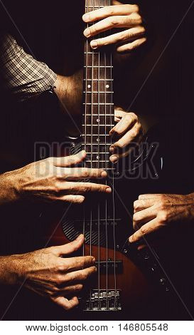 Skillful Playing Of A Bass Guitar