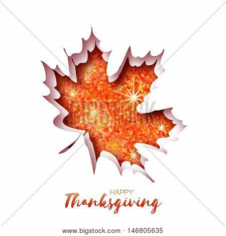 Happy Thanksgiving Day greeting card with origami autumn red glitter maple leaves on white background with title. Paper cut Trendy Design Template.