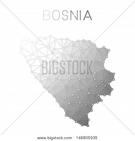 Bosnia And Herzegovina Polygonal Vector Map. Molecular Structure Country Map Design. Network Connect