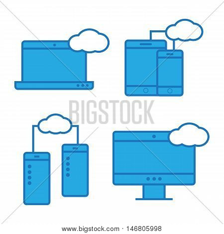 Syncing computer, cloud computing network. Syncing computer vector logo