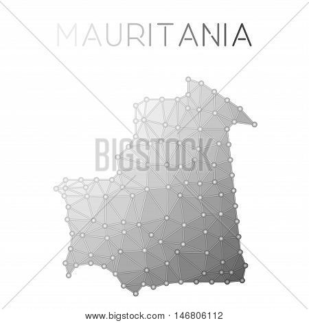 Mauritania Polygonal Vector Map. Molecular Structure Country Map Design. Network Connections Polygon
