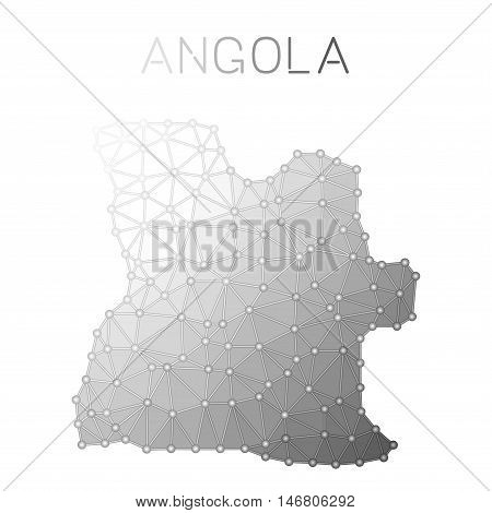 Angola Polygonal Vector Map. Molecular Structure Country Map Design. Network Connections Polygonal A