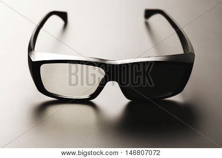 Special glasses for imax on the black gradient background. Bright and darkened glass.
