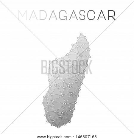 Madagascar Polygonal Vector Map. Molecular Structure Country Map Design. Network Connections Polygon