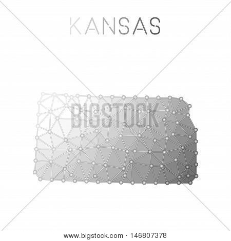 Kansas Polygonal Vector Map. Molecular Structure Us State Map Design. Network Connections Polygonal