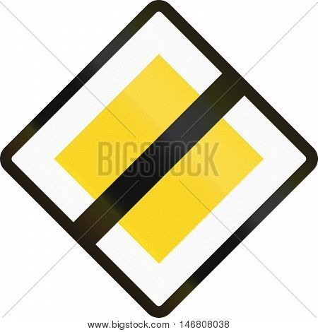 Road Sign Used In Denmark - End Of Priority Road