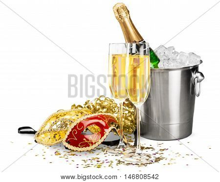 Bottle of Champagne in Ice Bucket with Flutes and Masks