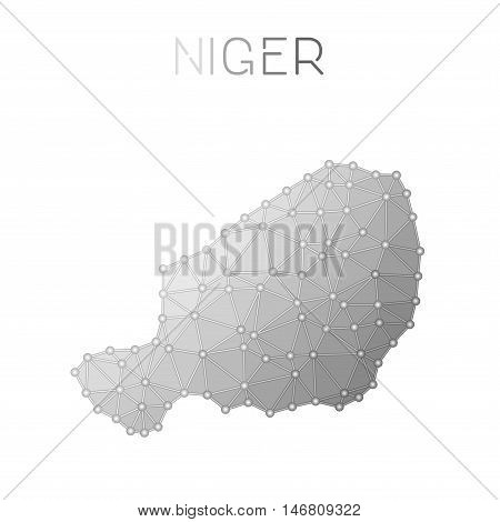 Niger Polygonal Vector Map. Molecular Structure Country Map Design. Network Connections Polygonal Ni