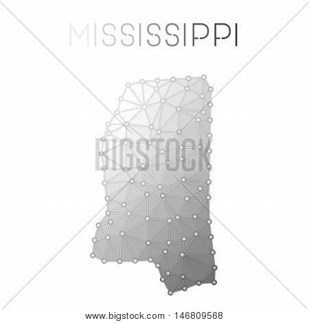 Mississippi Polygonal Vector Map. Molecular Structure Us State Map Design. Network Connections Polyg