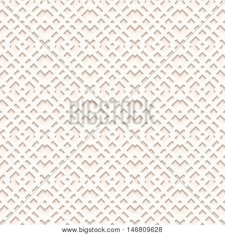Paper wallpaper with shadow. Arabesque backdrop. Perforated design. Openwork illustration. Vintage decoration. Arabian pattern. Eastern ornament. Islamic print. Ethnic background. Retro art. Vector.