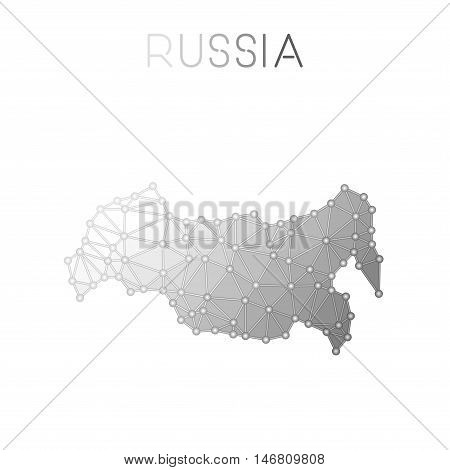 Russian Federation Polygonal Vector Map. Molecular Structure Country Map Design. Network Connections