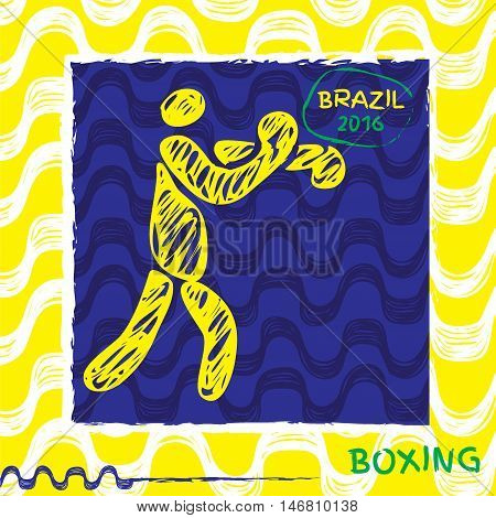 Brasil summer games sport icon pictogram. Icons olympics sport with Ipanema pattern. Vector hand drawn Illustration boxing sport icon.