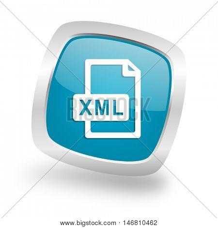 xml file square glossy chrome silver metallic web icon