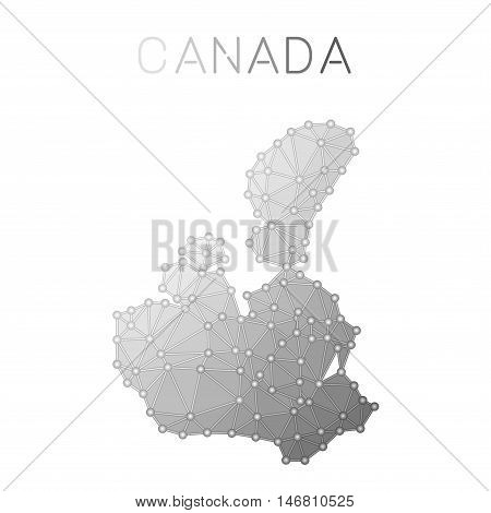 Canada Polygonal Vector Map. Molecular Structure Country Map Design. Network Connections Polygonal C