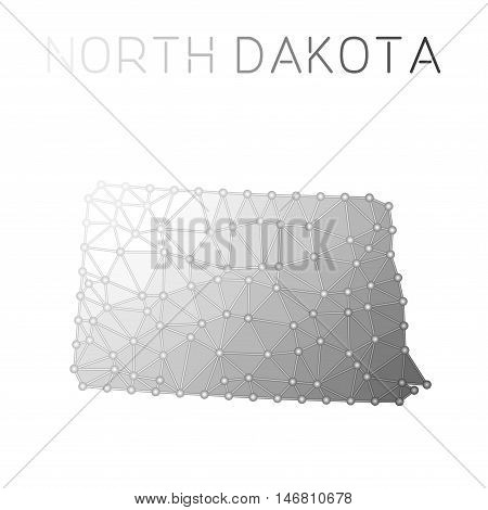 North Dakota Polygonal Vector Map. Molecular Structure Us State Map Design. Network Connections Poly