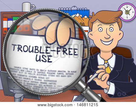 Trouble-Free Use through Magnifier. Businessman Showing Paper with Text. Closeup View. Multicolor Modern Line Illustration in Doodle Style.