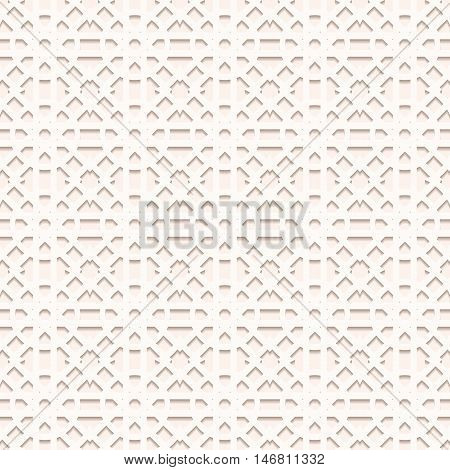 Paper ornament with shadow. Arabesque background. Perforated art. Openwork wallpaper. Vintage backdrop. Arabian design. Eastern illustration. Islamic decoration. Ethnic pattern. Vector.