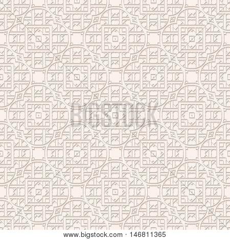 Paper decorationwith shadow. Arabesque pattern. Perforated ornament. Openwork print. Vintage background. Arabian art. Eastern wallpaper. Islamic backdrop. Ethnic design. Retro illustration. Vector.