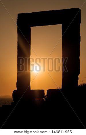 Portara of Naxos famous landmark of greece at sunset