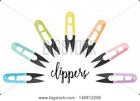 Set of pastel colored scissors in a semicircle with clippers lettering isolated on white background. Calligraphic inscription