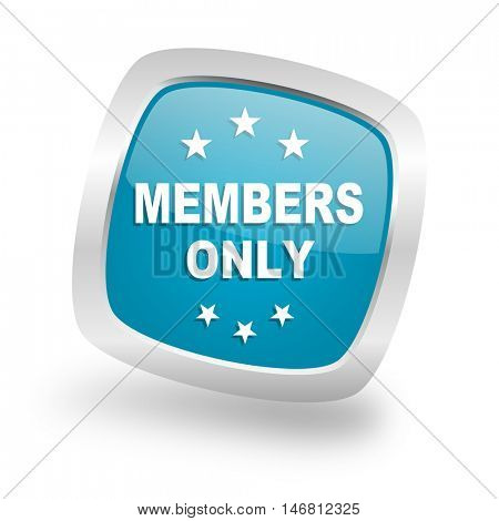 members only square glossy chrome silver metallic web icon