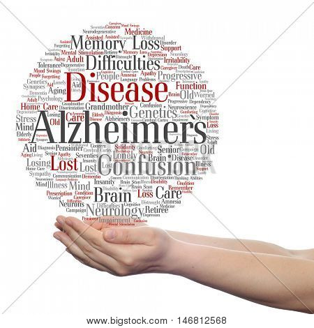Concept or conceptual Alzheimer`s disease symtoms abstract word cloud held in hands isolated on background