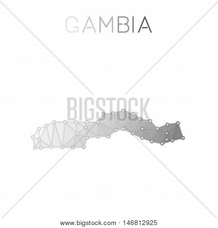Gambia Polygonal Vector Map. Molecular Structure Country Map Design. Network Connections Polygonal G